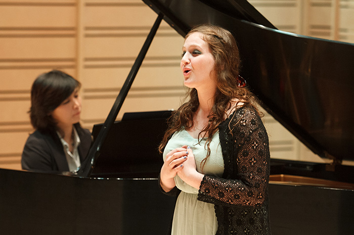 Ann Fogler '15 performs during a 2014 vocal master class, accompanied by Instructor of Piano Eun Baik-Kim. It was just one of many stepping stones to the ultimate performance-major experience, the senior recital. Photo by Carl Socolow '77.