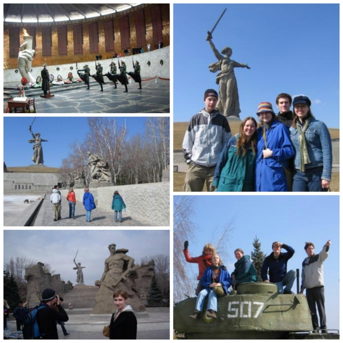 Various photos of students in Volgograd.