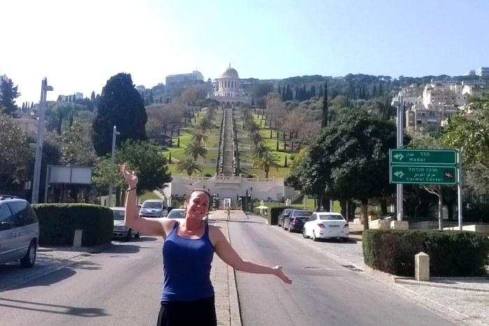 Rachel Winner at the Baha'i Gardens in Israel