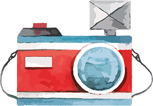Watercolor camera painting