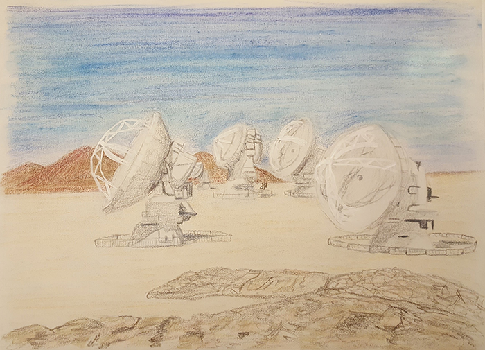 Wilkins' sketch of the Atacama Large Millimeter/submillimeter Array (ALMA) in Chile, one of the telescopes she uses to study methanol in Orion.
