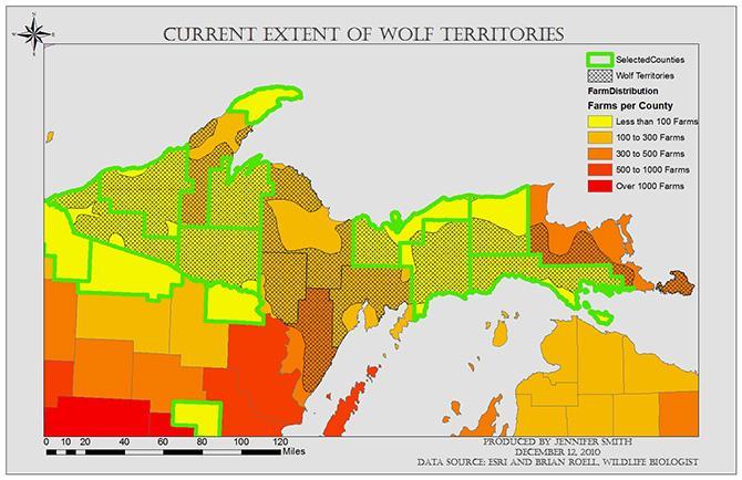GIS Analysis of Grey Wolf Habitats in Michigan | GIS Student Work