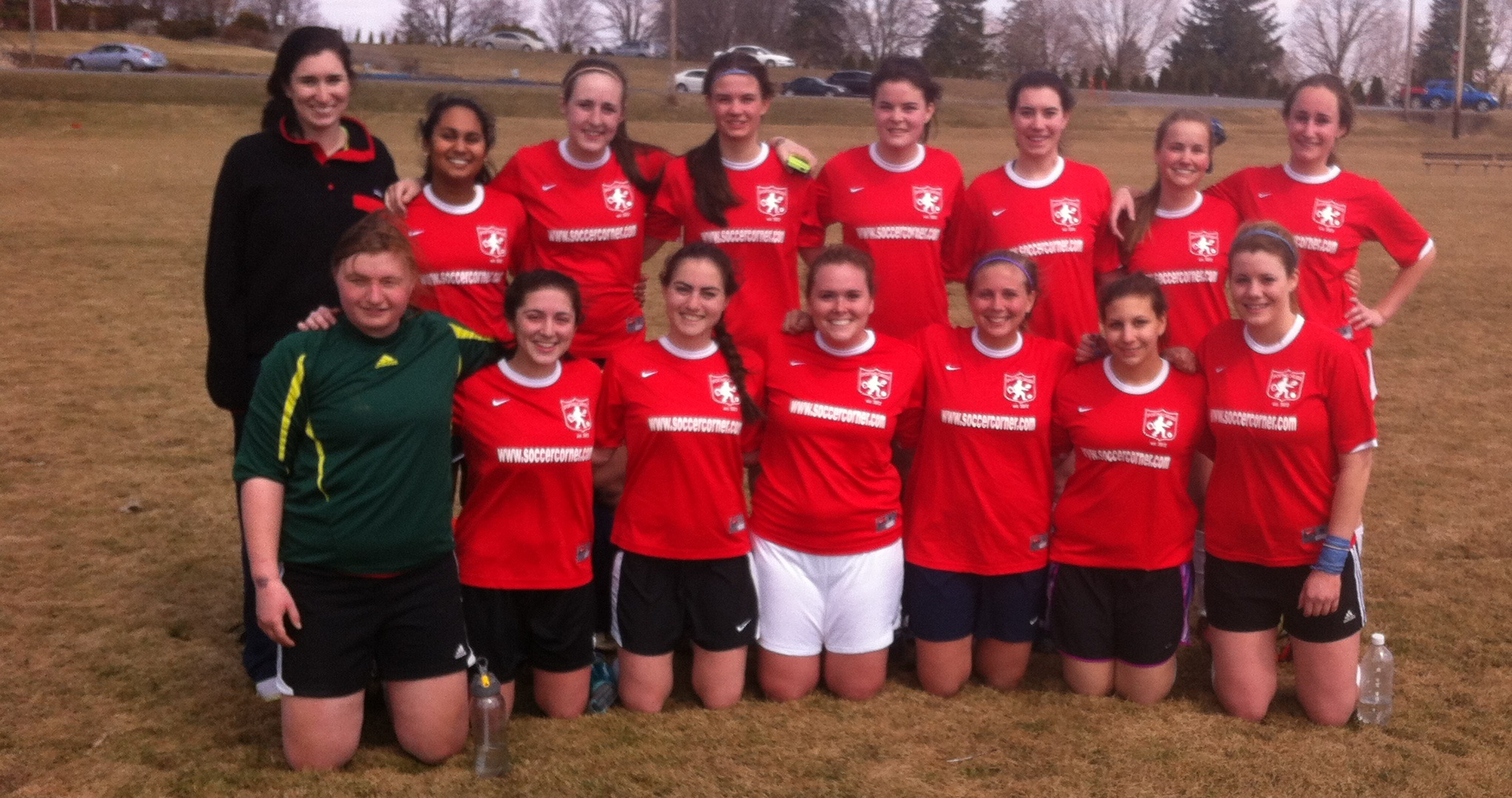 Photo of women's club soccer in uniform during spring of 2014