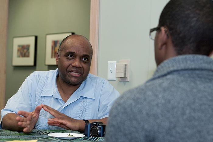 When Komozi Woodard '71 visited campus in February to speak on The Black Student Movement and the Early Roots of Africana Studies at Dickinson College, he took time to meet with Africana studies students.