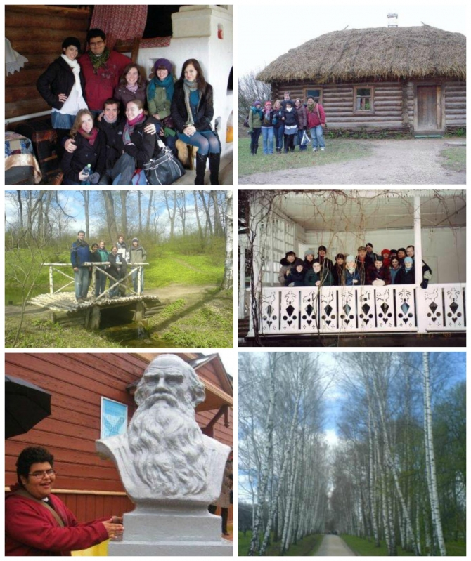 Various photos of Russian students exploring Yasnaya Polyana, Leo Tolstoy's family estate.