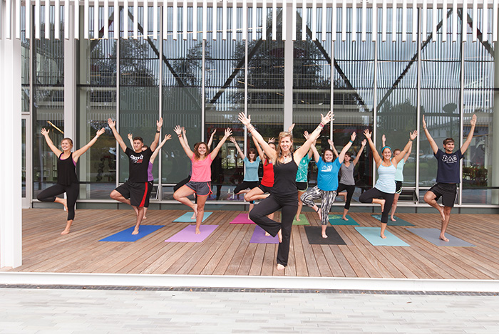 This yoga class, held at the Kline Center, is only one of the many fitness classes and informational sessions presented throughout the academic year. Photo by Carl Socolow '77.