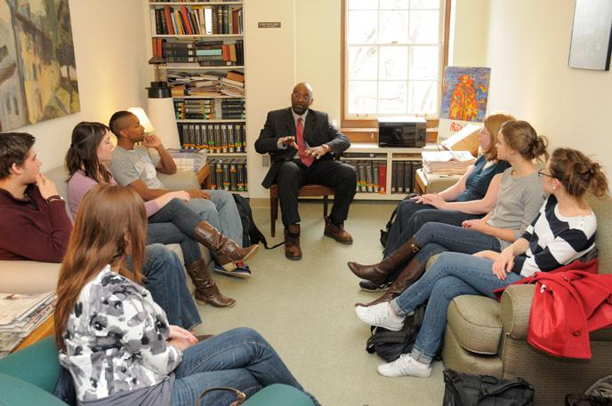 Cogan Fellow Frank james visits with students.
