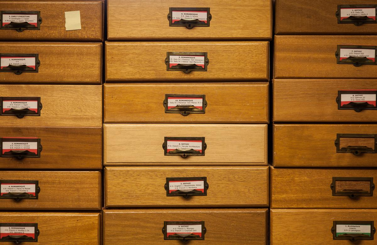 35mm slide drawers in the Visual Resources Center. Photographed by Andrew Bale.