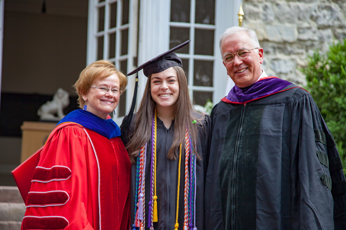 Sarah Nash '19, Dickinson's new Young Alumni Trustee, poses with College President Margee Ensign and Board of Trustees Chair John Jones III '77, P'11.