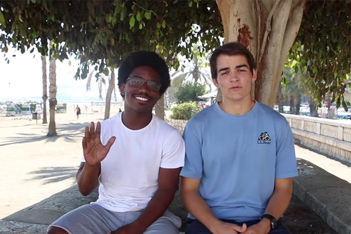 Nick Toole '16 (right) is producing the video series with help from classmate Jaion Dunn '16 (left).