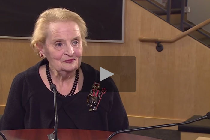 A stillframe of Madeleine Albright roundtable video