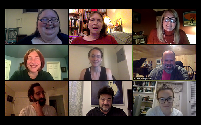 Zoom screenshot of alumni creative writing workshop