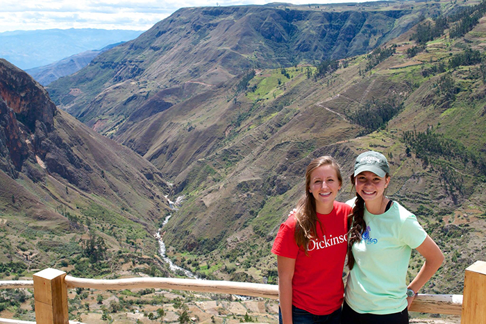 After a service trip to Ecuador (shown above) Seniors Natalie Cassidy (left) and Audrey Ling studied abroad in Argentina and conducted original research.