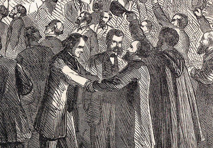 Detail from the cover of Harper's Weekly Magazine (Feb. 18, 1865), depicting the final passage of the Thirteenth Amendment. Shaking hands are (left to right): Thaddeus Stevens, William D. Kelley and John A.J. Creswell.