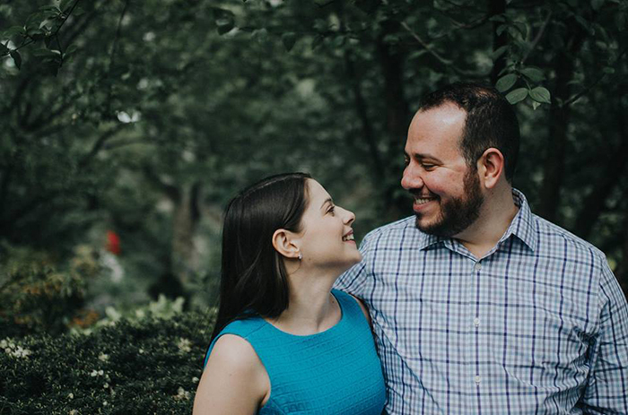 Christyn Budzyna '11, lyricist, with librettist Charlie Cohen, shortly after their engagement. The couple was married June 9, weeks after their musical was a hit at the Samuel French Off-Off-Broadway Festival.