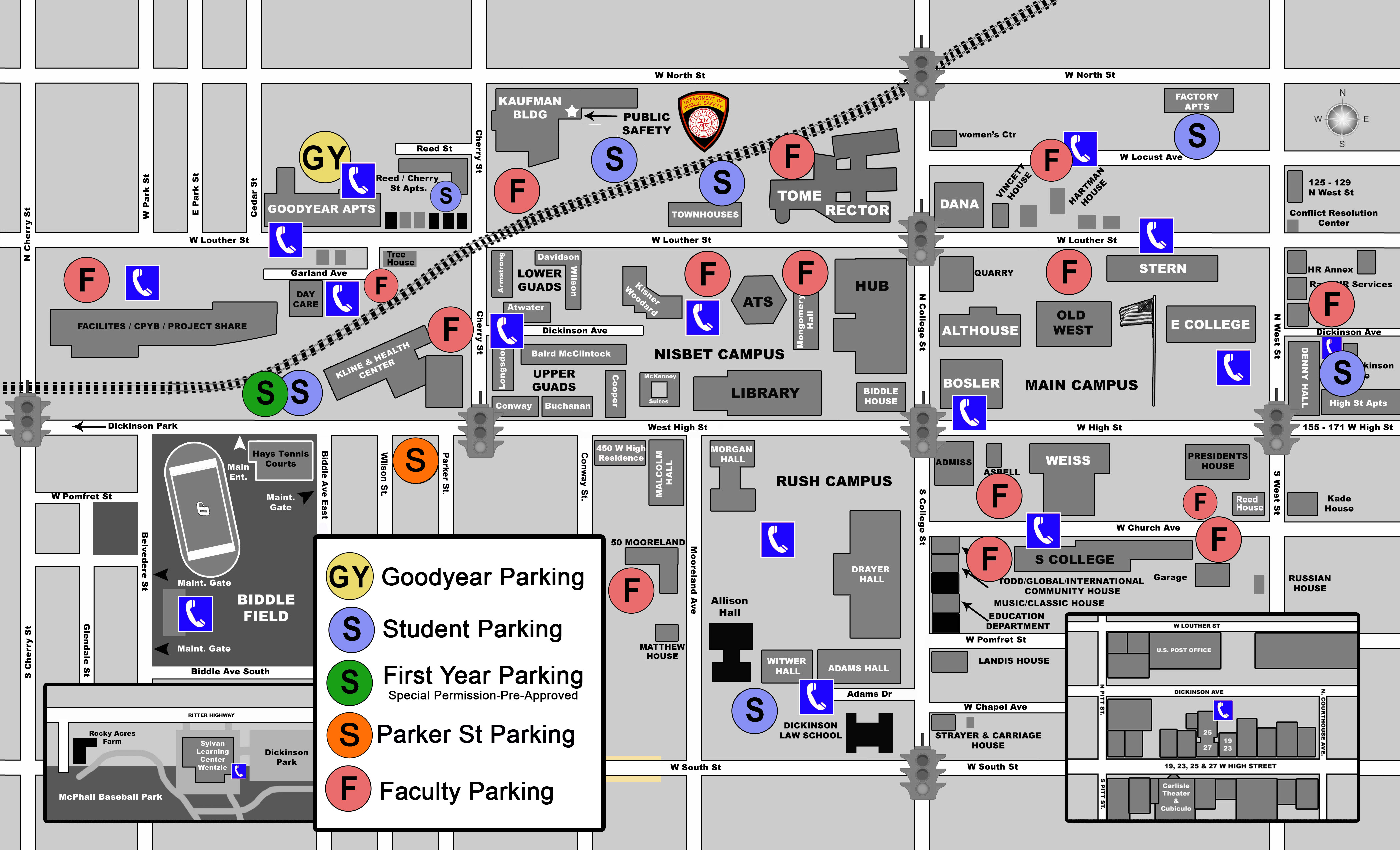 dickinson college campus map Campus Map Parking Lot Designations Parking Dickinson College dickinson college campus map