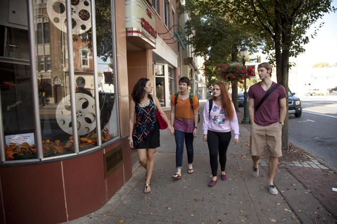 Students walking in downtown Carlisle.