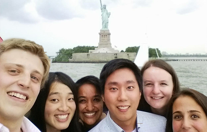 Yoon Choi '15 (third from right), takes a break to see the sights while taking part in the Dickinson in New York City program.