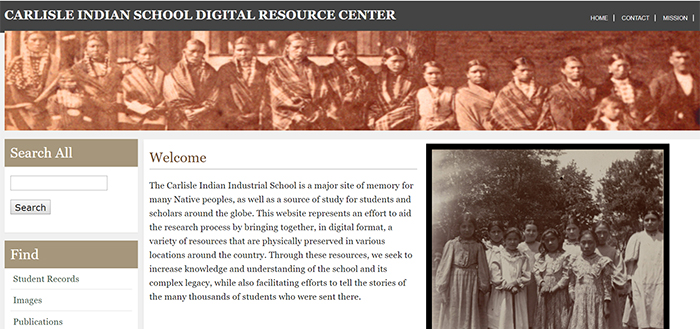 Screen shot of the Carlisle Indian School online portal.