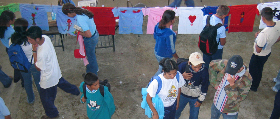 Photograph taken during the Clothesline Project