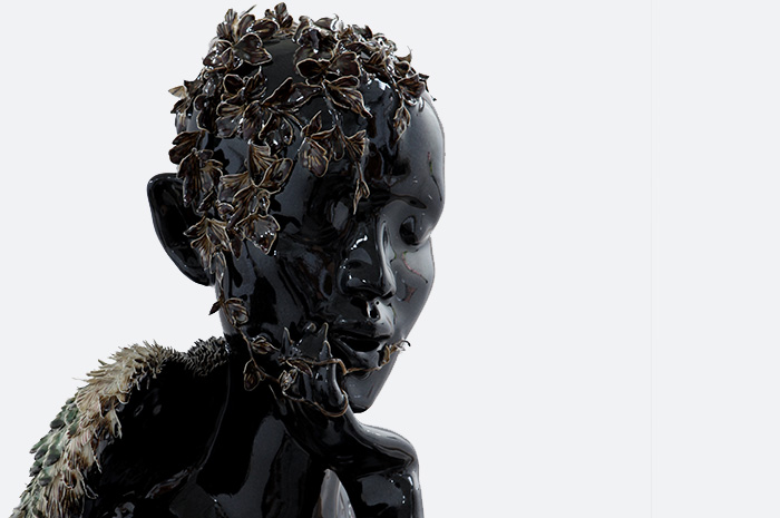Detail of Angel with Broken Wing (porcelain), 2010.
