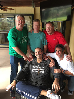 After his transplant, Cohen poses with visitors, including Dickinson buddies Dennis Crawford '80, Stephen  Callaghan '79 and Pete Dooner '80.