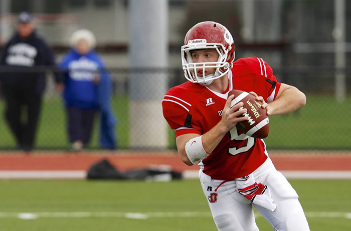 Red Devils quarterback Cole Ahnell '15. Photo by Ned Ahnell.