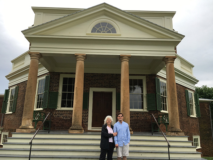 Cooper Wingert '20 poses with fellow historian Carole Hemingway at Poplar Forest, Thomas Jefferson's retreat house in southern Virginia.
