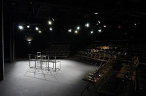 shows the cubiculo stage with lighting frames and seating