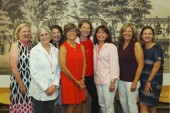 From left, Patricia Swigart '75, Carol Graebner '75, Angie Barone '90, Barbara Pim Bailey '73, Jennifer Love, Lindsey Goodman Iacovino '75, Sandra McGrew '73 and Rachel Pickering '00. Not pictured: Marisa Button '04, Christine Falvello '73 and Jennifer Peterson '93