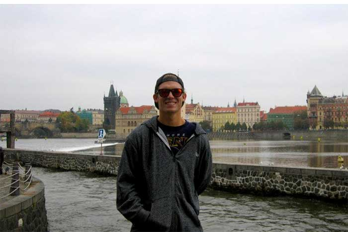 John Donley '14 poses for a photo in Prague. He studied political science in the Czech Republic during the fall semester of his junior year.