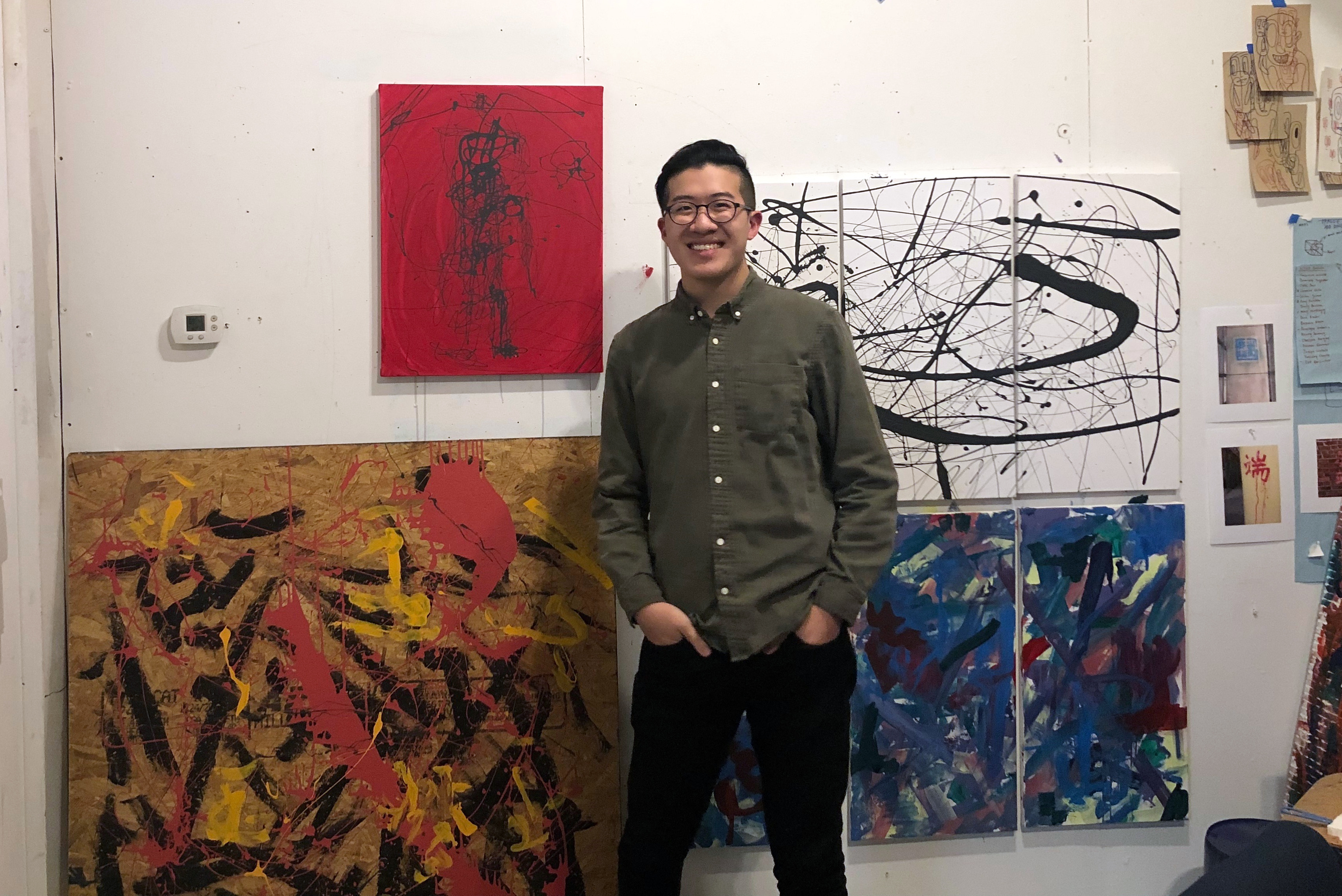 Duanduan Hsieh '19 poses with some of his works-in-progress in his Goodyear studio.