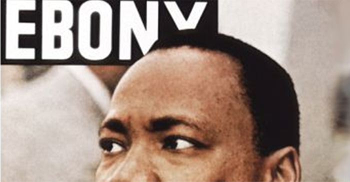 Detail of a May, 1968 cover of Ebony magazine featuring Martin Luther King, Jr. An exhibit on the history of the magazine is part of the 2017 symposium.
