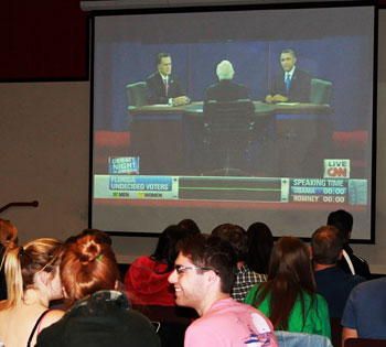 Students gather in The Depot to watch the final 2012 presidential debate.