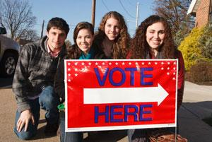 Picture of student volunteers on election day