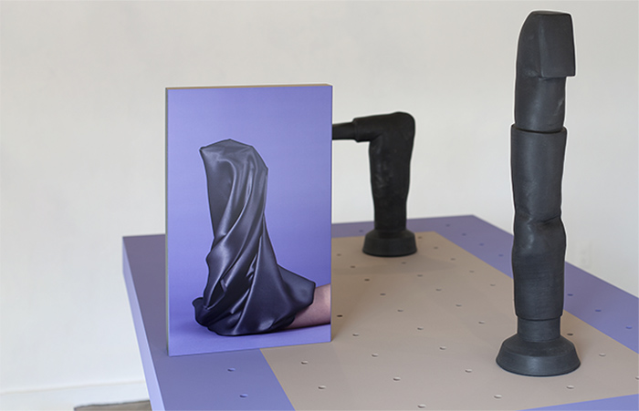 Ellie Krakow, Arm Armature (Modular - iteration 1), glazed ceramic, photos printed on aluminum, wood, paint
