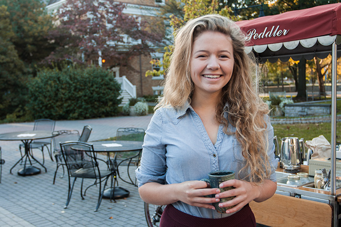 Emily Whitaker '17 is a student-leader on campus and a barista for the student-run, sustainably sourced coffee stand, The Peddler.