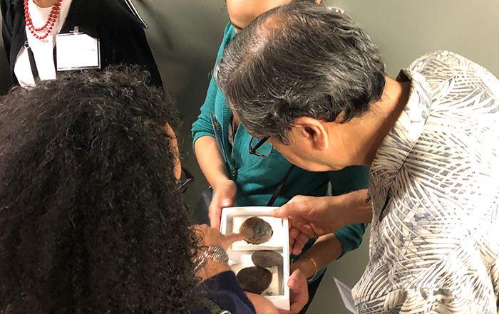 Alumni were encouraged to closely examine, and even touch, fossils during an exclusive behind-the-scenes tour. Photo courtesy of Laura Wills.