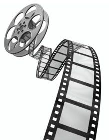 This is a simple image of a roll of film for movies.