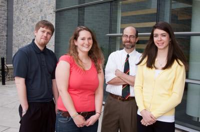 Physics Professor Lars English, Fulbright recipient Julie King, History Professor Jeremy Ball, and Fulbright recipient Allison Murawski.