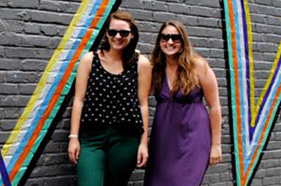 Elizabeth Grazioli '09 (right) founded ArtSee, a specialty marketing and events service for artists. Above, she poses with former intern Aleksa D'Orsi '15.