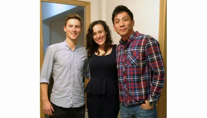Wyatt Lonergan '11 (left), Mariel Fredericksen '11 and Ben Wong '08 pose for a photo during a birthday celebration in Hong Kong. The three alumni, who each work in China, meet regularly throughout the year.