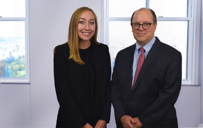 Zoe Kaminski '18 (left), a former Dickinson IB&M major, and Holcombe Green '92, who majored in philosophy, now work together at Lazard, a top global finance firm.