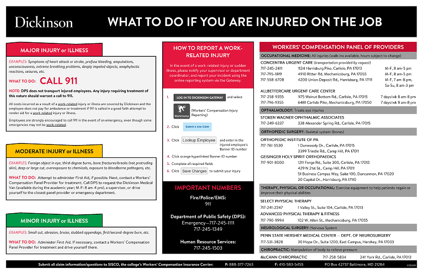 """What to do if you are injured on campus"" poster"