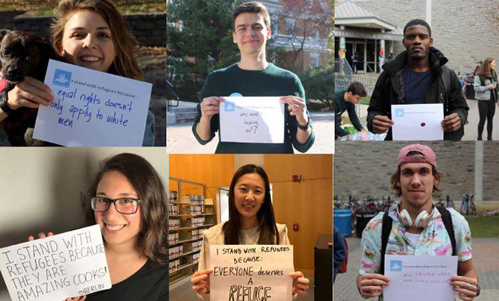 Students posted photos of themselves on social media, showing their support for refugees.