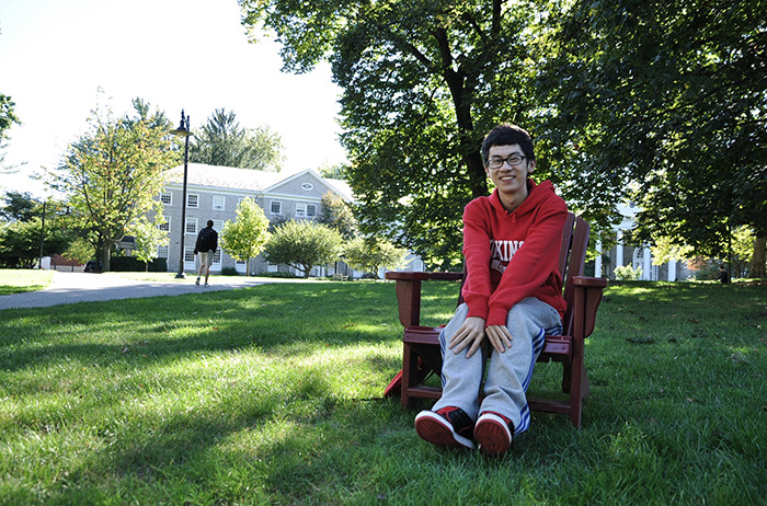 "Jiahao ""Jacky"" Han relaxes on the Dickinson campus."