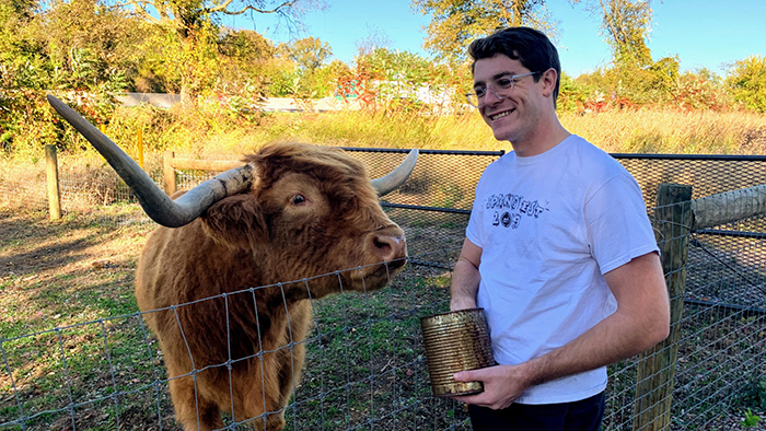 Jarred Parrett, on a farm near Dickinson College, Carlisle, Pennsylvania.
