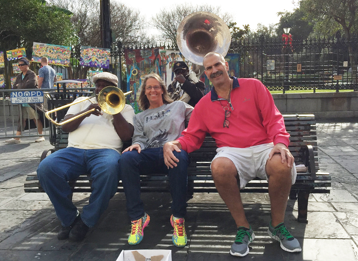 Jeff and Mary Cohen, with a Dixieland combo, during vacation in New Orleans.