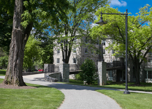A path winding around Morgan Hall on the Dickinson campus.