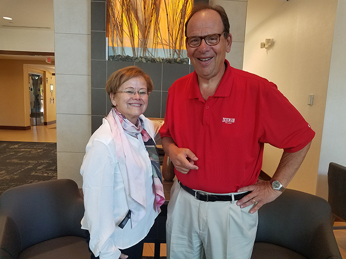 Lou Grossman '73 poses with President Margee Ensign during her Useful Education for the Common Good tour.